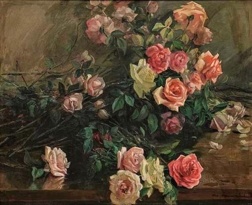 CARLOS OSWALD, (Brasil,1882-1971)Rosas, Óleo s tela, 75 x 92 cm