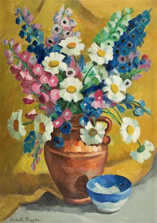 COLETTE PUJOL - (1913 - 1999)- Flores - ost - 70 x 50 - cid