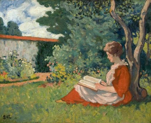 d'espagnat, georges, mulher lendo no jardim