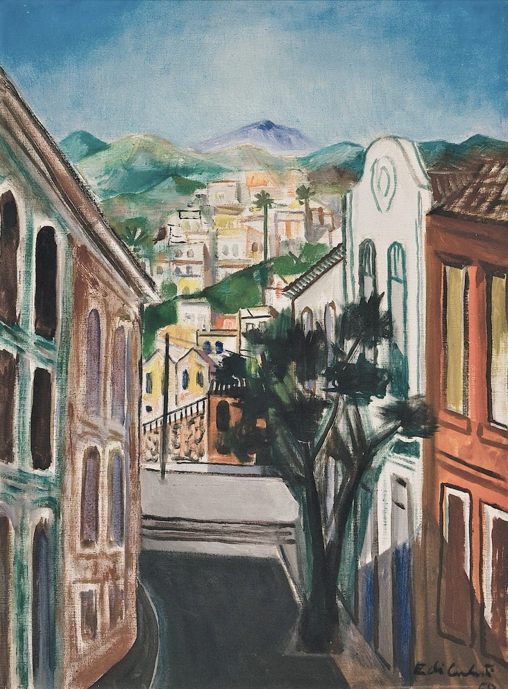 Emiliano Di Cavalcanti,Paisagem de Santa Teresa, Óleo sobre tela, 73 X 54 cm