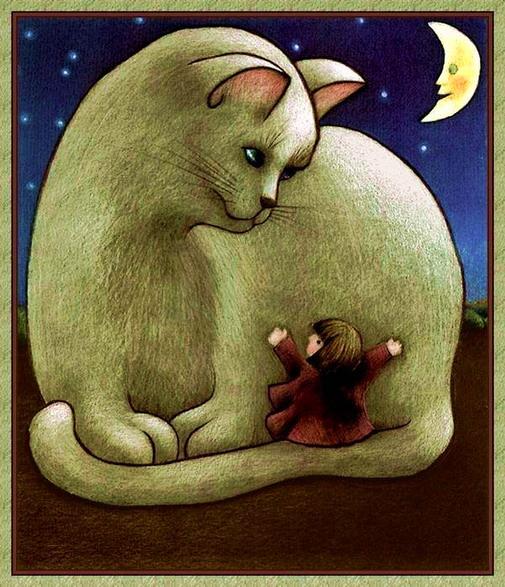 gato com menina Anne_Mortimer