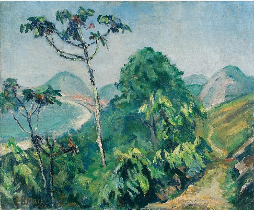 Roberto Burle Marx, Morro Chapéu Mangueira., Óleo sobre tela,Assinado e datado 1932 inferior esquerdo. 54 x 65 cm.