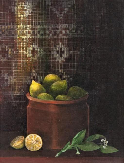Sonya Grassmann, (Bulgária-Brasil, 1933-1997) Limões,38 x 28 cm,óleo sobre Eucatex, ass. inf. dir.