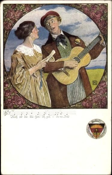 Artist Song Postcard Kutzer, Ernst, Frau und Mann, Gitarre, Deutscher Schulverein, 1913