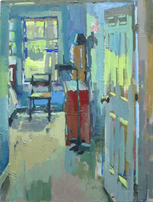 Carole Rabe, (EUA, contemporânea) O quarto azul, ost, 60 x 45 cm