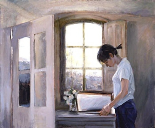 Chen Bolan (China, 1955) Girl Reading Near a Window