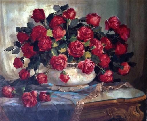 JORGE REIDER - Rosas vermelhas - Óleo sobre tela