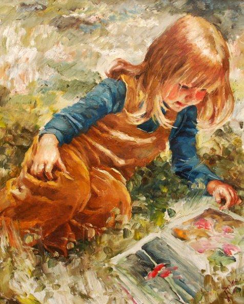 Karoly (Charles) Roka (1912 – 1999, Hungarian-born Norwegian)menina lendo um livro pequena leitora