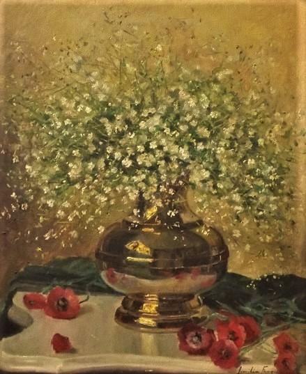 LUCILIA FRAGA. Vaso com flores. 60 x 50. Assinado no c.i.d