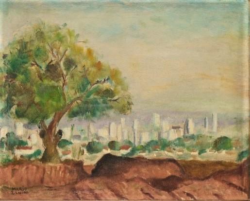 MARIO ZANINI (1907-1971). Paisagem Urbana em Bauru - SP, óleo stela, 36 X 45. Assinado no c.i.e.