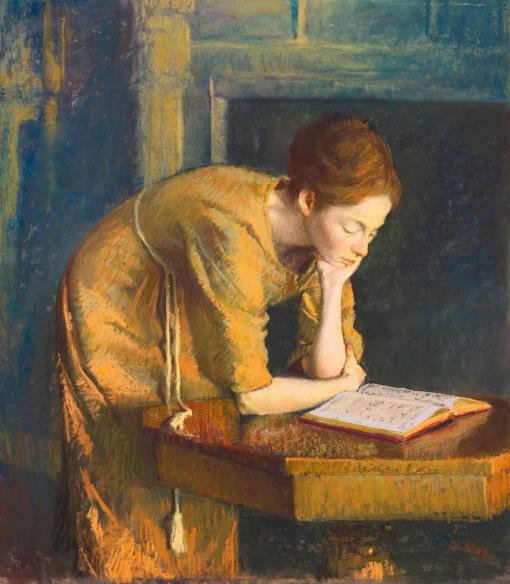 Aaron Shikler (EUA, 1922–2015)Mulher lendo (esposa do pintor), 1962, pastel sobre papelão, 50 x 44 cm