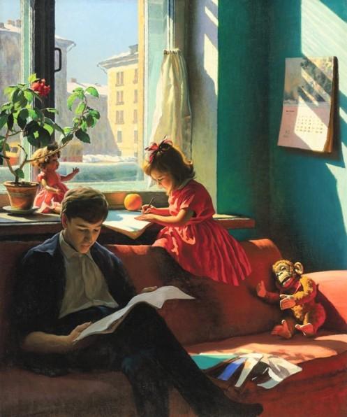Alexander Laktionov's Visiting My Grandmother, 1930,