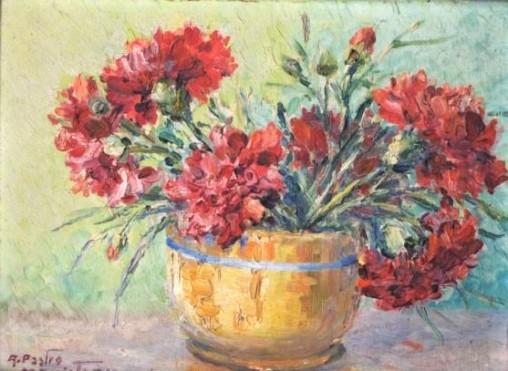 AMELIA PASTRO MARISTANY - Cravos vermelhos - óleo sobre madeira 19 x 26 cm.