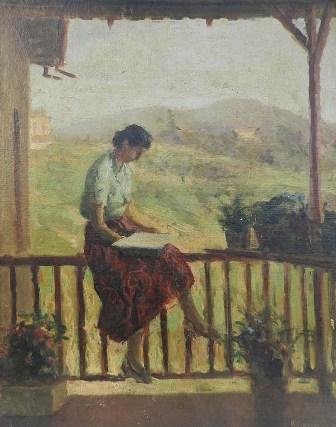 Angelo Simeone, (Itália-Brasil, 1899-1963) Figura feminina, Óleo sobre tela colado sobre eucatex, 60 X 48cm