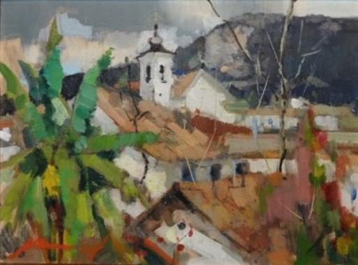 Armínio Pascual (Brasil, 1920-2006)Paisagem colonial,1998, ose, 30 x 40 cm