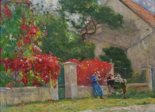 Eiseu VIsconti, Primavera em Saint Hubert - 1916 Visconti pinta sua família (Louise de azul, Yvonne, Afonso no carrinho e Tobias).