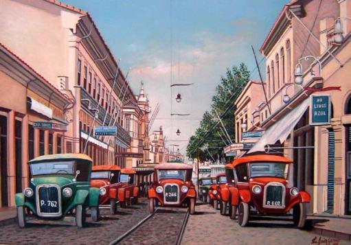 Jair Gomes (Brasil,1955)Rua Barão de Jaguara - Campinas 1930,Óleo sobre tela,50 x 70 cm