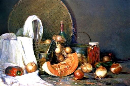 ROBERTO MELO (Brasil, 1970) Cheiro de cebolas, tempero mineiro - Óleo sobre tela