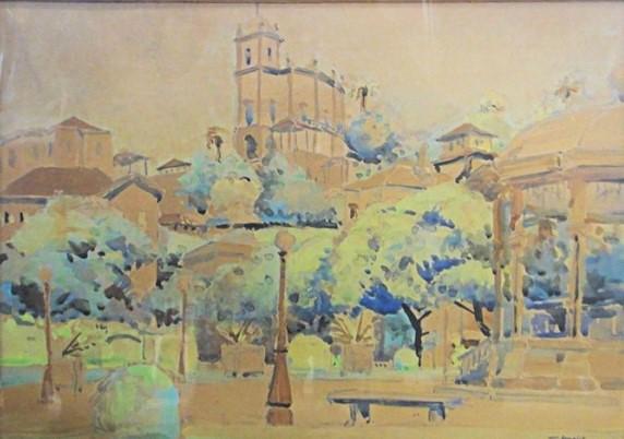 TAKAOKA, YASHIYA (1909-1978). Paisagem da Glória com Mosteiro, aquarela, 31 X 42. Assinado e datado (1938)