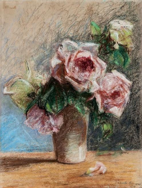 Tarsila do Amaral,Vaso com Rosas,38 x 27 cm,crayon sobre papel,c. 1919, Reproduzido no Raisonné Tarsila do Amaral, volume II na pág.12, sob o registro D005.