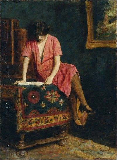 Armin Glatter (Hungria, 1861-1916), Lendo, ost, 70 x 50cm