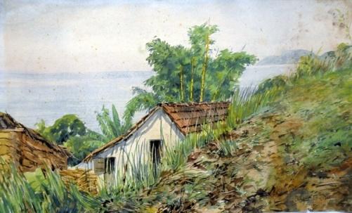 BENEDITO CALIXTO - Casa à beira mar Aquarela sobre papel, 29 cm x 47 cm.