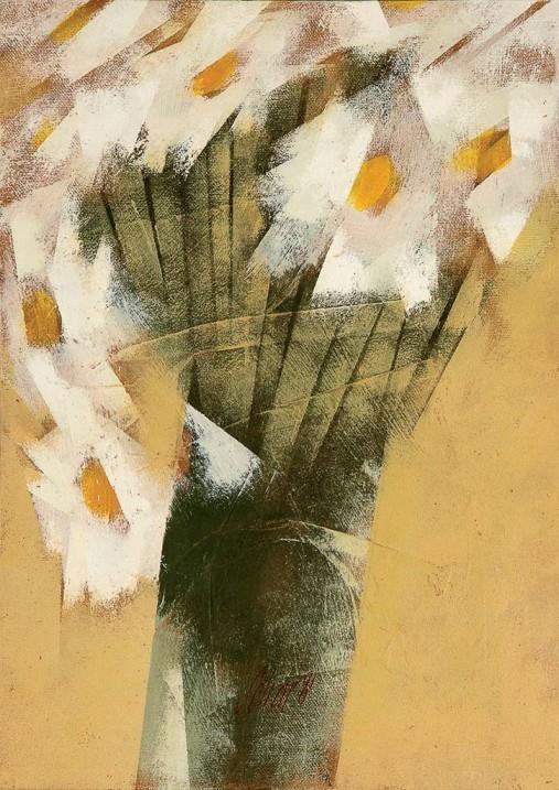 Carlos Scliar,Margaridas, vinil e colagem encerado s tela colada em chapa de madeira industrializada, 1981 ,37 x 26 cm