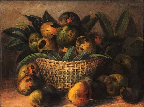 ESTEVÃO SILVA (BRASIL, 1841-1891),Mangas na Cesta, osm, 1888, 49 x 64 cm