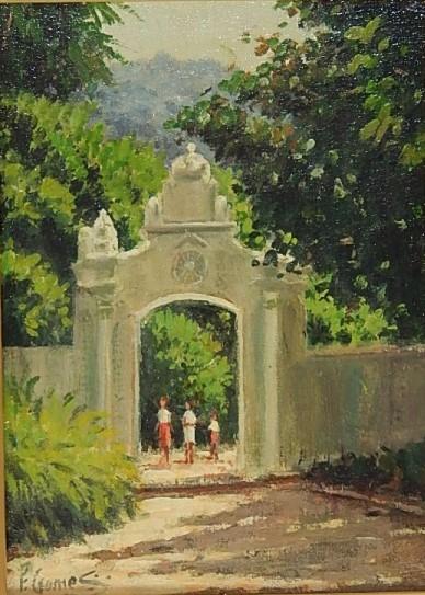 FERNANDO GOMES - Portão da antiga fábrica de pólvora Jardim Botânico, óleo stela, 16 x 22 cm. Assinado. Datado e titulado no verso Rio - 2007