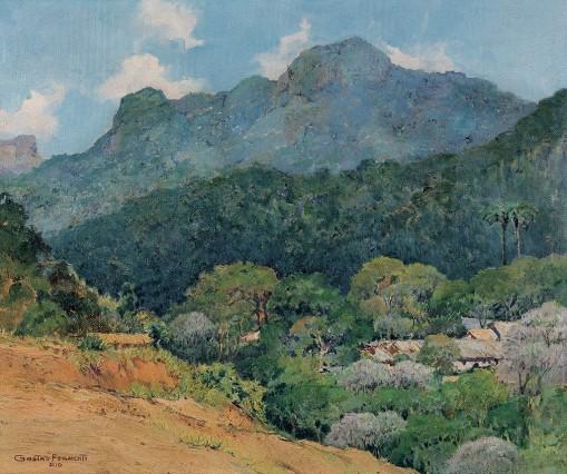 GASTÃO FORMENTI,Paisagem,óleo s tela, ass. e sit. Rio inf. esq.(década de 1940)50 x 60 cm