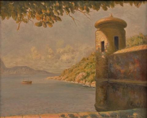 OSWALDO TEIXEIRA (1904-1975). Trecho do Forte de Gragoatá em Niterói, óleo s tela, 46 X 55.