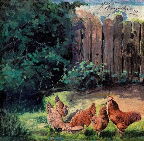PEDRO WEINGÄRTNER - Galinhas no quintal - Guache sobre papel - 21,5 x 22,5 - 1908