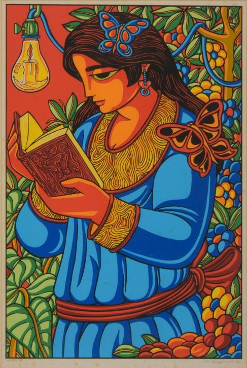 VIRGOLINO, WELLINGTON (1929-1988). Menina com Livro, serigrafia a cores, 63 X 41. Assinado e datado (1986) no c.i.d.