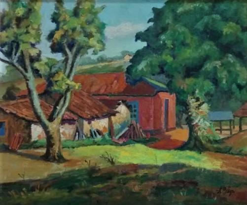 Alvaro Sega (Brasil, 1917-1991) Paisagem com casa, sd, ost,37 x 45cm