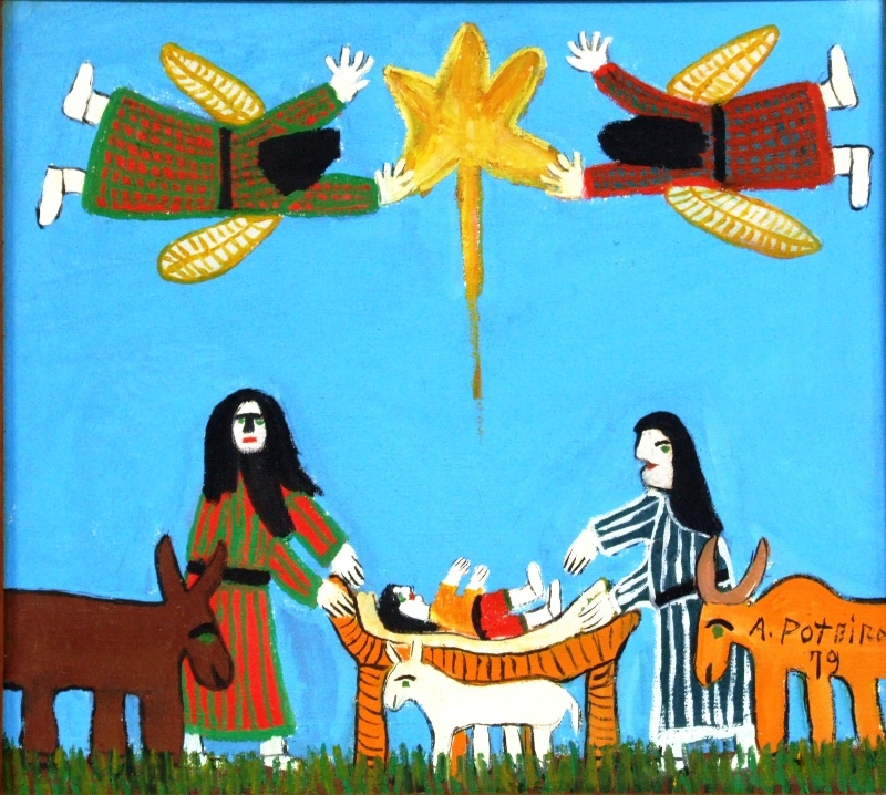 ANTONIO POTEIRO (1925 - 2010)Nascimento de Cristo,1979,o.s.t. 44 x 49