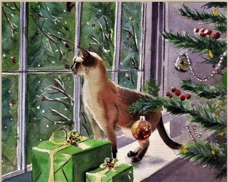 -Christmas-Tree-and-Christmas-Gifts-the-Cat-Looking-Oil-Painting-Christmas