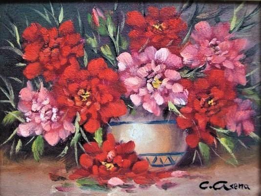 Claudio Arena - Vaso com flores - Óleo sobre tela - 18x24cm - acid -