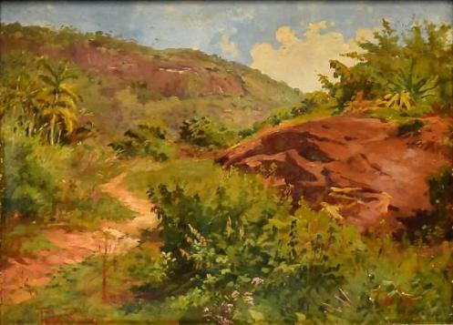 MANOEL TEIXEIRA DA ROCHA (1863-1941) - Paisagem Campestre de Campos de Jordão, pintura a óleo sobre madeira, med. 24 x 34cm, assinado e datado 1909,