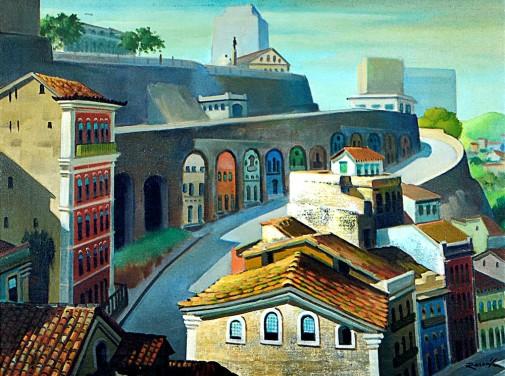 RESCALA, João José (1910 – 1986)Ladeira de Conceição , o.s.t. – 62 x 80 cm. Ass. frente e no verso ass, dat. 973, tit, localizado Salvador – BA