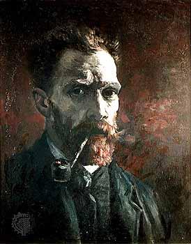 Van Gogh, Auto-Retrato com Cachimbo, Óleo sobre tela - 46x38cm, Paris, Primavera de 1886, Amesterdã, Museu Van Gogh