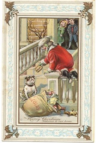 vintage-christmas-card-bulldog-santa-claus-children