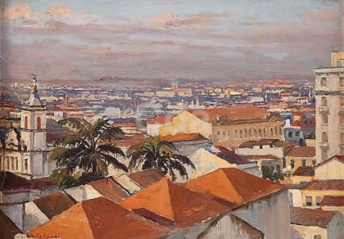 Adolfo Fonzari (Italia-Brasil, 1880-1959) VIsta panorâmica do Braz, osm, 36 x 26 cm