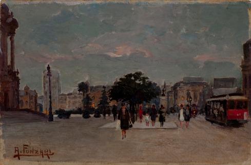 Adolfo Fonzari, Praça de Azevedo, óleo sobre papelão, 18 X 26 cm PESP