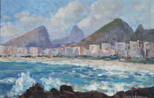 ANGELO CANNONE - Paisagem do Rio de Janeiro - óleo sobre eucatex - ass. inf. dir. - 20 x 30 cm.