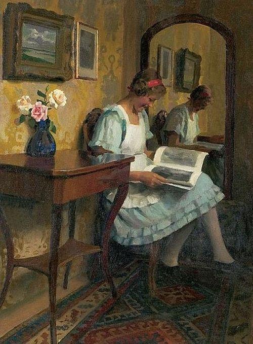 ariska reading (c.1928). Emil Pap (Hungarian, 1884-1945).