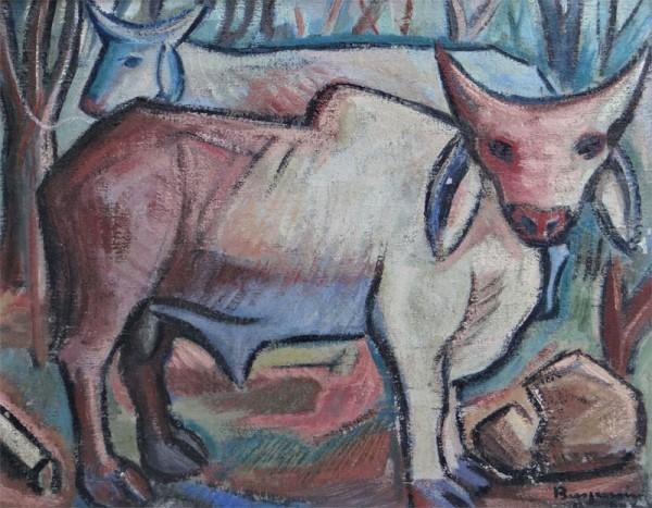 BENJAMIM SILVA (CE 1927) Bois no pasto - Óleo s tela 54 x 66 cm. ass. inf. direito e verso 1955