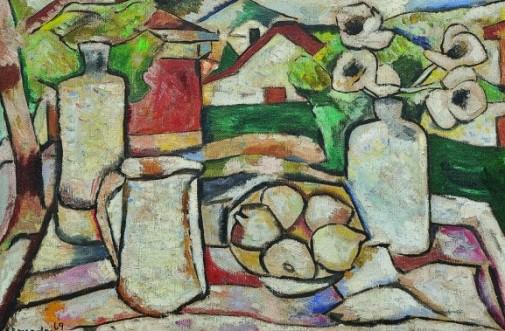 BONADEI, Aldo (1906 - 1974), Natureza morta com paisagem, 1969, Óleo s tela, ass. inf. esquerdo, 54 x 81 cm,