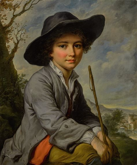 Catherine Lusurier (França, 1753-1781), A YOUNG BOY SEATED IN A LANDSCAPE,oil on canvas, 54 x 44 cm