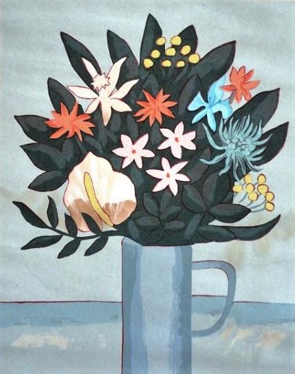 FANG - Vaso com flores, litografia, 50x40cm, assinada e numerada