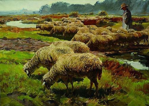 Hirte mit seinen Schafen, Öl-Lwd, links unten signiert, ca. 75x103cm, Rahmen
